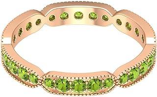 Rosec Jewels - Anillo de peridoto creado en laboratorio de 1,08 quilates, anillo de eternidad, banda minimalista de oro (c...