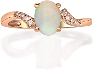 Gin & Grace 14K Rose Gold Natural Opal With Diamond (I1) Ring for Women Jewelry Gifts