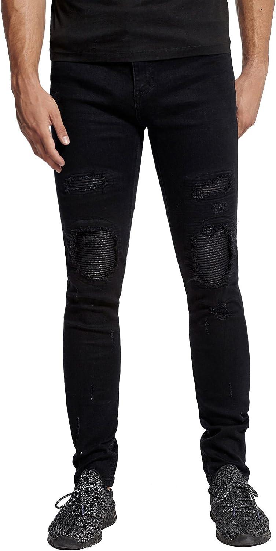 Mrpick Men's Very popular Leather Knee Biker Tapered Destroyed Rip Max 80% OFF Distressed