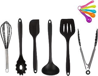 キッチンツールセット シリコン HAOBAIMEI 調理器具 11件セット 台所用品 製菓器具 ステンレス鋼ハンドル 食品安全認証済み -トング、スパチュラツール、パスタサーバ、レードル、泡立て器 料理 耐熱