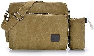 POPOTI Herren Umhängetasche, Popoti Schultertasche Segeltuch Klein Tasche Handtasche Aktentasche Tote Multifunktional Rucksack Messenger Bag Braun mit Tasche, 30x11x25x8cm
