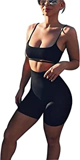 Women's Suit Two Pieces Set Sexy Sleeveless Strapless Crop Top and Shorts Set