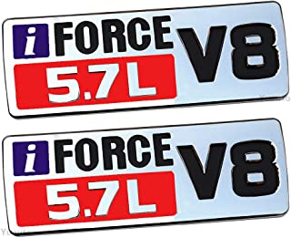 2Pcs IFORCE 5.7L V8 Badge Side Emblem, 3D Door Badge Nameplate Decals Stickers Replacement for Tundra TRD PRO IFORCE (Chrome red)