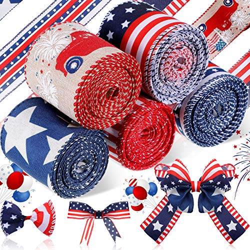 5 Rolls Star Wired Edge Ribbon 2.5 Inch Patriotic Ribbon Stars Stripes Satin Ribbon 4th of July Grosgrain Ribbon Independence Day Decoration for DIY Crafts Decoration Supplies Wreath Garland