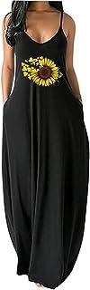 Women Bohemian Dress Summer Loose Beach Dresses Butterfly Floral Print V Neck Maxi Sundress Sleeveless Long Skirt