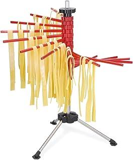 Navaris Secador de Pasta con recetario - Soporte de Acero Inoxidable para Pasta Fresca - Tendedero para secar tallarines caseros máx. 2 KG - En Rojo