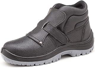 ZYFXZ Chaussures en cuir de vache gaufrée de travail imperméables en cuir, avec Toe en acier et en acier Cap Semelle inter...