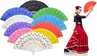 Leehome Colorful Peacock Pattern Folding Fans Bulk for Women - Chinese/Spanish/Japanese Best Retro Fabrics Fans for Wedding, Gifts (Mixed Colors, 10pcs-02)