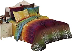 Rainbow Tree Quilt Cover Set, 3 Piece Duvet Cover Set Includes 2 Pillowcases, Doona Cover Set (Queen Size)
