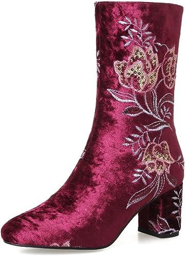 DYF Tête Ronde Chaussures Bottes Courtes Style National Haut Talon Talon Rugueux,Broderie Rouge vin,34  le plus récent