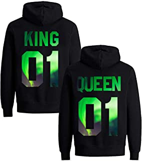 Yooh Design King & Queen Matching Couple Hoodie Set His & Hers Hoodies-1 Pcs