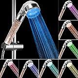 innislink Douchette de Douche LED, Douchette douche salle de bain Douchette à main 7 Couleurs LED Pommeau de douche Haute Pression Economie d'Eau Pulvérisateur et double filtre anti chlore
