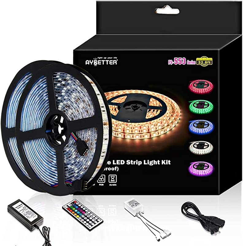 Led Strip Light Waterproof 600leds 32 8ft 10m Waterproof Flexible Color Changing RGB SMD 5050 600leds LED Strip Light Kit With 44 Keys IR Remote Controller And 12V Power Supply