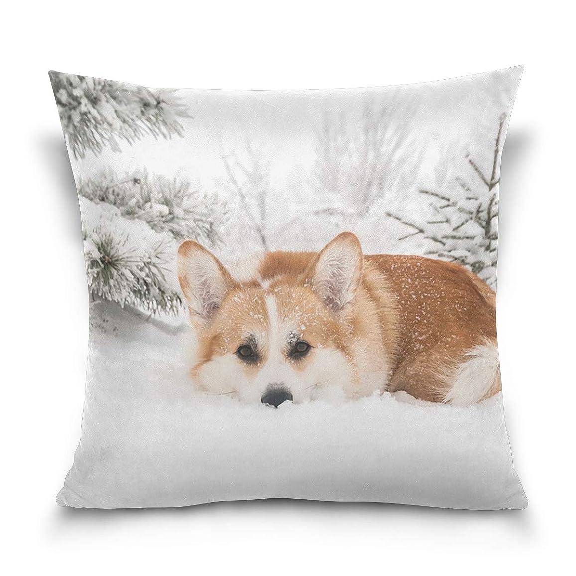 機械的にのためにターゲット背当てクッションカバー 犬柄 コーギー 雪 45×45cm ゴールド 正方形 角型 プレゼント 背当て 上品 綿