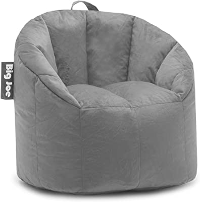 Big Joe, 0638542 Milano Gray Plush Bean Bag Chair, Gray