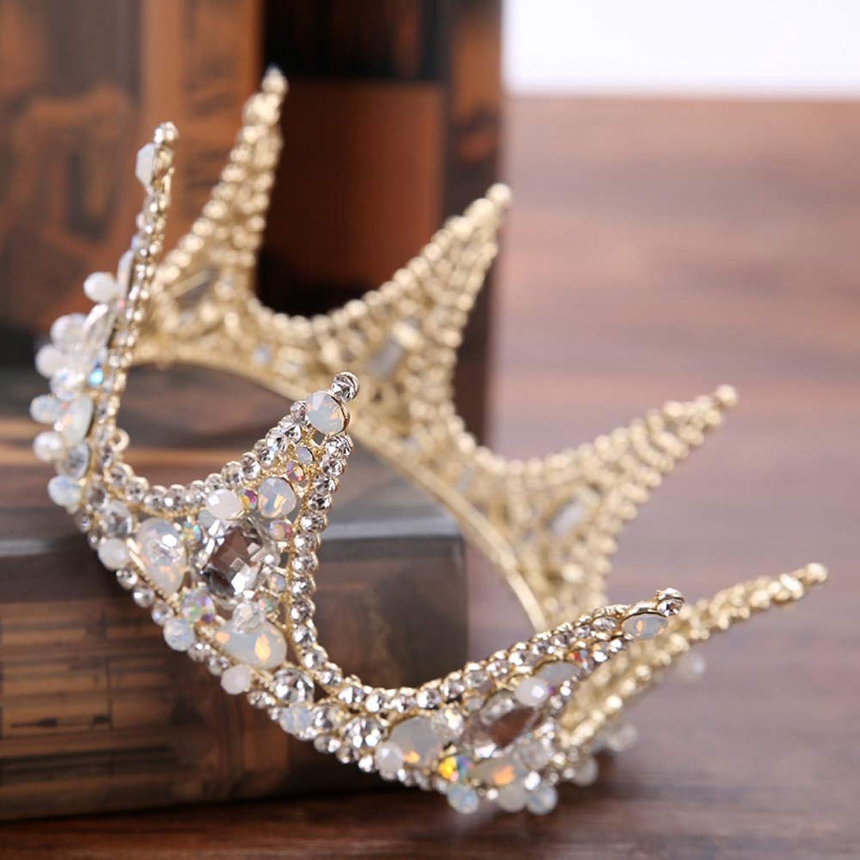 Bridal Crown Headdress golden Full Circle Crown Bridal Rhinestone Crown Wedding Accessories Crown Hair Accessories Princess Rhinestone (gold)