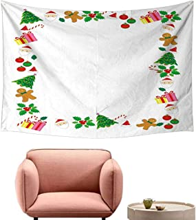 Agoza Bedroom Tapestry Kids Christmas Colorful Border with Different Clip Arts Holiday Festivity Santa Trees Balls Wall Hanging Carpet Throw 23