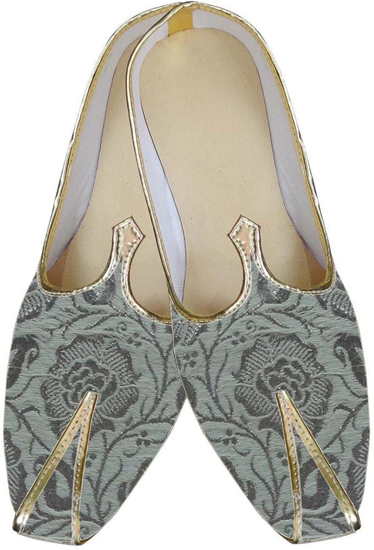 INMONARCH Mens Silver Brocade Wedding shoes Partywear MJ0036