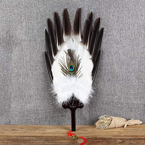 plzxy Federfächer Handgemachte antike Handwerk Fan Loch Fan chinesische Wind Gans Fan Fan@Bergamotte Adler Porenfächer