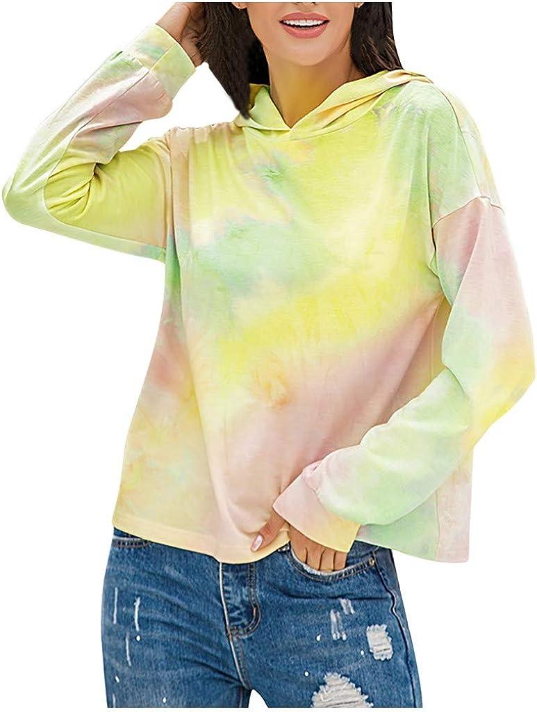 Women's Lightweight Tie Dye Long Sleeve Hoodie Sweatshirts Loose Casual Gradient Pullover Hooded Tops