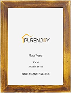 PURENJOY 8x10 Solid Wood Picture Frame High Definition Glass Exhibition Baby/Family/Graduation/Award/Wedding for Table Display and Wall Mounting, Holds 8by10 Photo