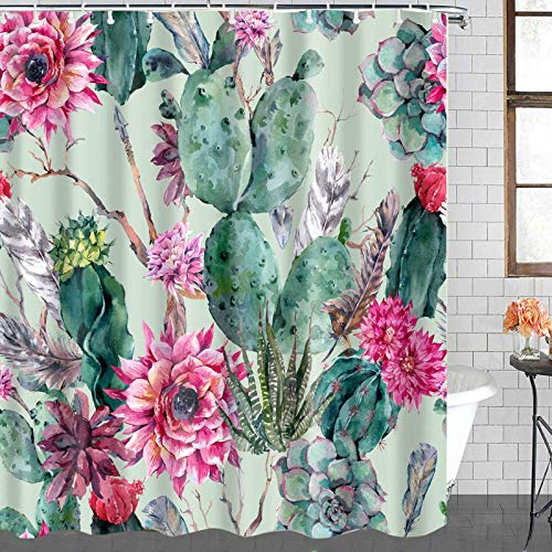 CIUJOY Duschvorhänge, Kaktus-Muster, bunte Duschvorhänge mit 12 Kunststoff-Haken, langlebiger wasserdichter Stoff-Duschvorhang für Badezimmer (183 x 183 cm)