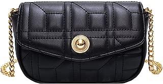 Fashion Women's Bags PU(Polyurethane) Crossbody Bag Chain Solid Color Beige/Yellow/Khaki Precision Stitching (Color : Black)