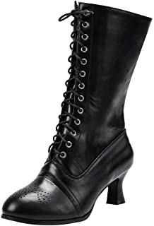 Ankle Boots,Women Pointed Toe Lace Spike heels Punk Med Heels Shoes