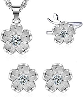 """""""Cherry Blossom"""" Sterling Silver Crystal Charm Flower Necklace Earrings Ring Jewelry Set for Women"""