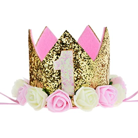 iEFiEL Baby Princess Tiara Crown First Birthday Party Sparkly Gold Crown Hat Headband with Artificial Rose Flowers
