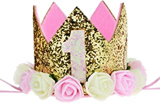 Best Baby Princess Tiara Crown, Aiernuo Kids First Birthday Hat Sparkle Gold Flower Style Review