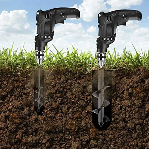 HandsEase Garden Auger Drill Bit Set, 2 PCS Garden Rapid Planter with Garden Genie Gloves for Planter Tree Hand Cordless Drill Soil Posthole Digging Holes (11.8