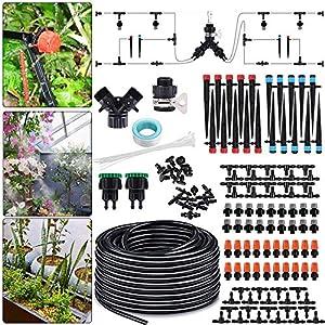 Sistema de riego, por goteo micro de 25 m kit de riego automático, de goteo de para jardín, césped, invernadero, camas de flores, plantas de maceta