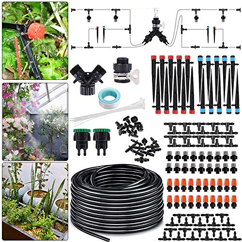 Irrigation System,25m DIY Micro Drip Irrigation Kit with Adjustable...