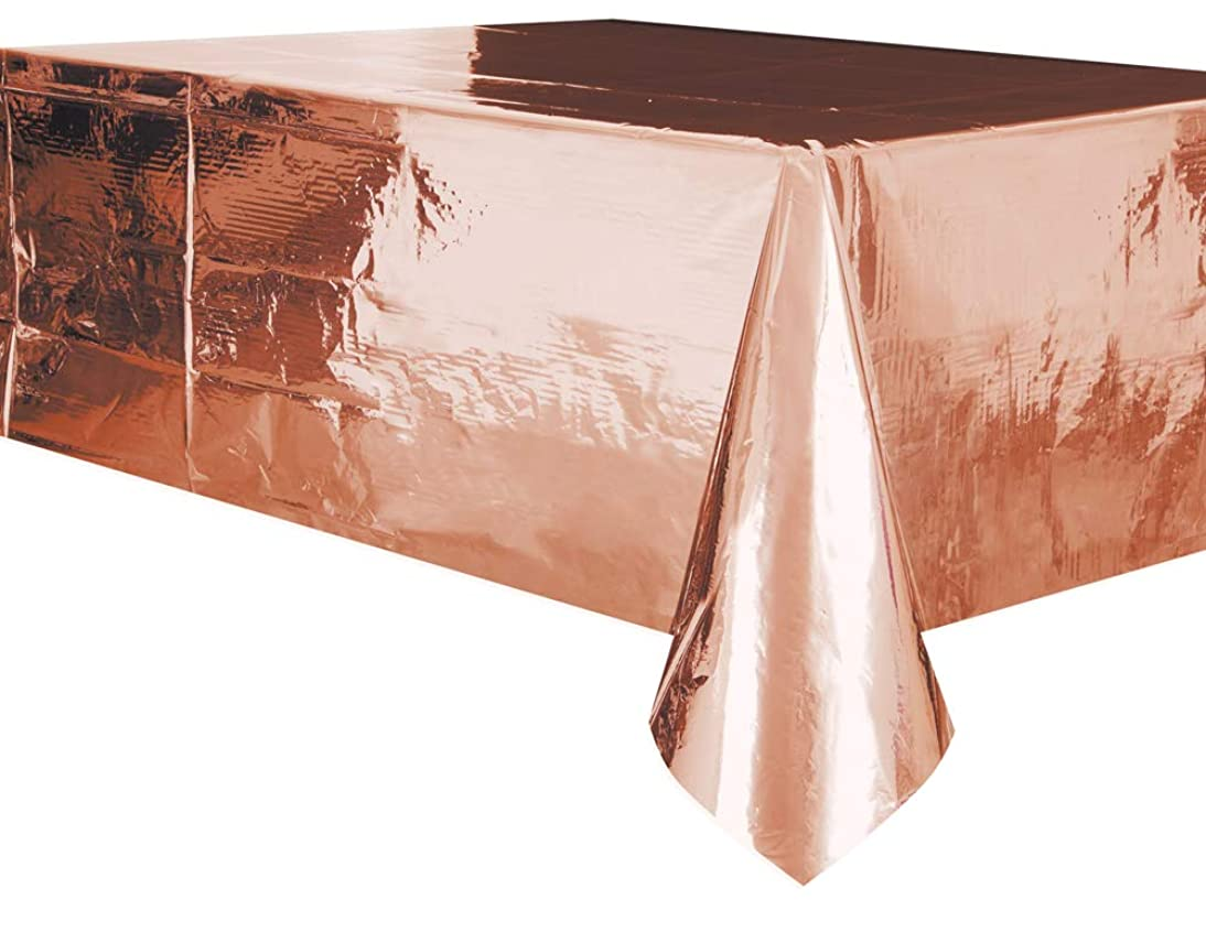 Foil Rose Gold Plastic Tablecloth, 108