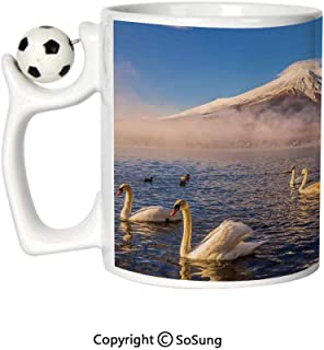 Landscape Sports Football Mug,Mount Fuji Reflected in Lake Yamanaka at Dawn Japan Several Swans Image Print Ceramic Coffee Cup,White and Blue,Great Novelty Gift for Kids & Audlt