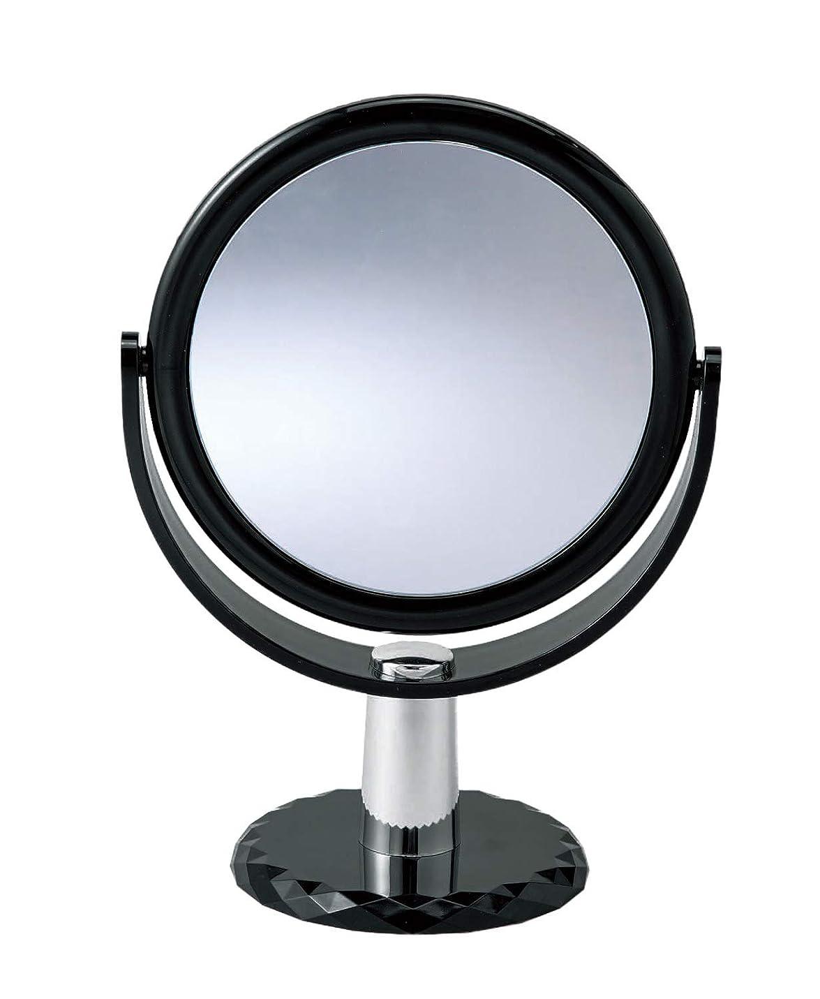 注入するこする焦がす10倍拡大鏡付きの2面ミラー 卓上 スタンドミラー 化粧鏡 メイク 360度回転