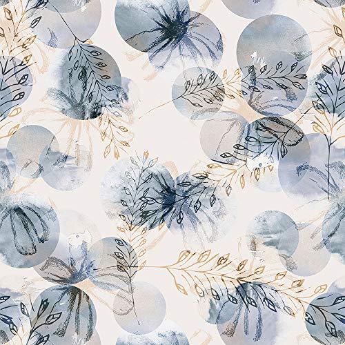 Papel de parede contemporâneo com desenhos em flores e trigos Para Quartos e Sala