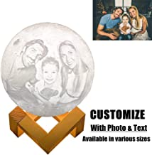 Lutilo 3D Printed Custom Photo Moon Light, 2 Colors Touch Dimmable and Rechargeable Brightness Moon Lamp with Stand, Best Gift for Your Family or Friend