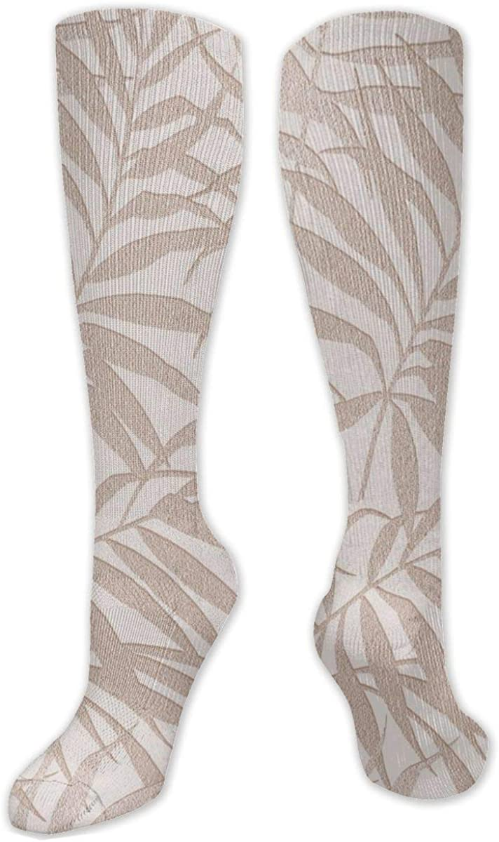 Vintage Leaves Pattern Knee High Socks Leg Warmer Dresses Long Boot Stockings For Womens Cosplay Daily Wear