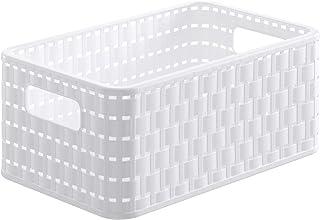 Rotho Country Boîte de Rangement 6L en Rotin, Plastique (PP) sans BPA, Blanc, A5/6L (28,0 x 18,5 x 12,6 cm)