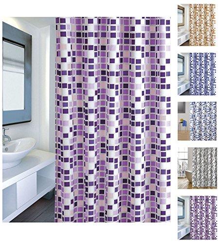 "MSV Cotexsa by 142101 Anti-Schimmel Textil Duschvorhang - Anti-Bakteriell mit 12 Duschvorhangringen ""Mosaik"" Violett 180x200cm"