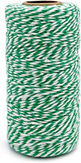 Green and White Twine,100M/328 Feet Cotton Bakers Twine,Christmas String,Heavy Duty Packing String for DIY Crafts and Gift Wrapping