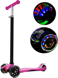 WeSkate MG1 Kids 3 Wheel Kick Scooter, PU Flashing Wheels ABEC 7, 4 Adjustable Heights, Easy-Folding, 132lbs Weight Limit, Age 3-12 (Pink)