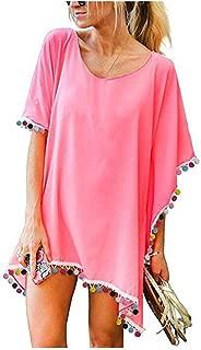Pom Swimsuit Cover Up for Women Chiffon Beach Coverup Dress Stylish Kaftan Summer