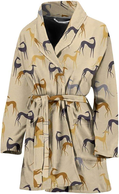 Deruj Greyhound Dog Pattern Print Women's Bath Robe
