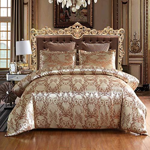 Cupocupa Romantisch Satin Bettwäsche 3 Teilig 220x240 cm Partner Bettbezug Barock Muster,Verdeckter Reißverschluss, mit 2 mal Kissenbezug 80x80 cm ZS1*2024+2 * 8