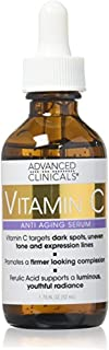 advanced Clinicals vitamin c anti-aging Serum for Dark Spots, Uneven Skin Tone, Crows Feet and Expression Lines. 1. 75 Fl ...