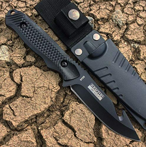 """8"""" Defender Xtreme Gut Hook Hunting Knife Ultra Sharp Fixed Blade Knife With Sheath Black Camping Survival Pocket Knives + free eBook by Survival Steel"""