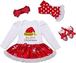 d5e54ae9c0277 Decstore Bébés Filles Mon 1er Noël Costume Robe de fête Tutu Outfit ensemble  4PCS
